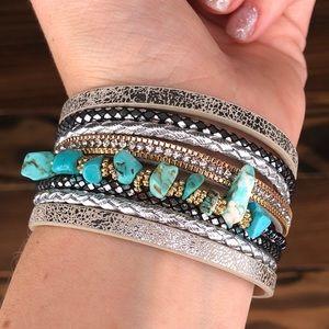 Jewelry - Bohemian Western Cuff Stone Leather Bracelet Boho